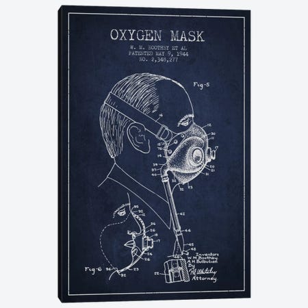 Oxygen Mask 3 Navy Blue Patent Blueprint Canvas Print #ADP2397} by Aged Pixel Canvas Print