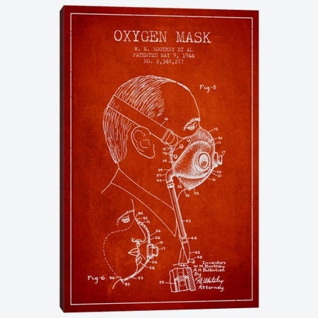 Oxygen Mask 3 Red Patent Blueprint Canvas Print #ADP2398} by Aged Pixel Canvas Art