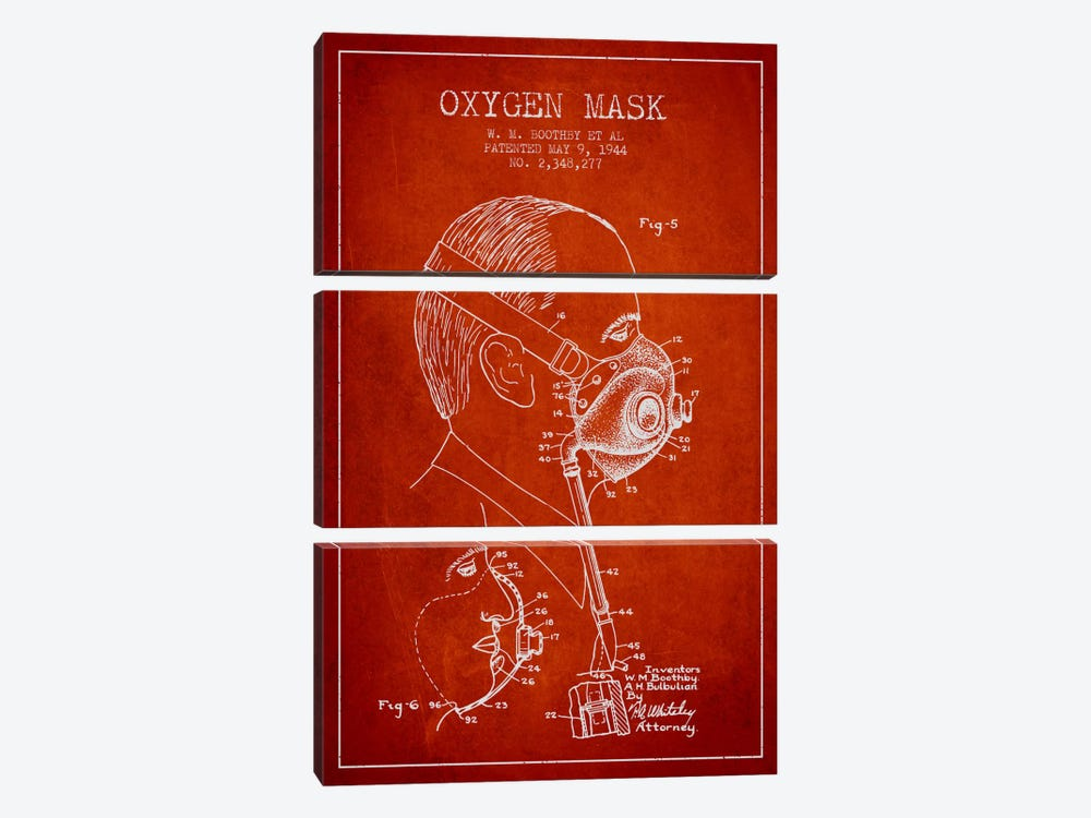 Oxygen Mask 3 Red Patent Blueprint by Aged Pixel 3-piece Canvas Print