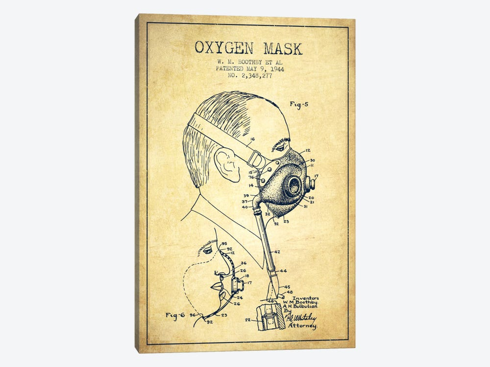 Oxygen Mask 3 Vintage Patent Blueprint by Aged Pixel 1-piece Canvas Wall Art