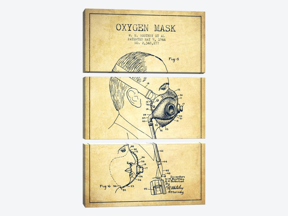 Oxygen Mask 3 Vintage Patent Blueprint by Aged Pixel 3-piece Canvas Art