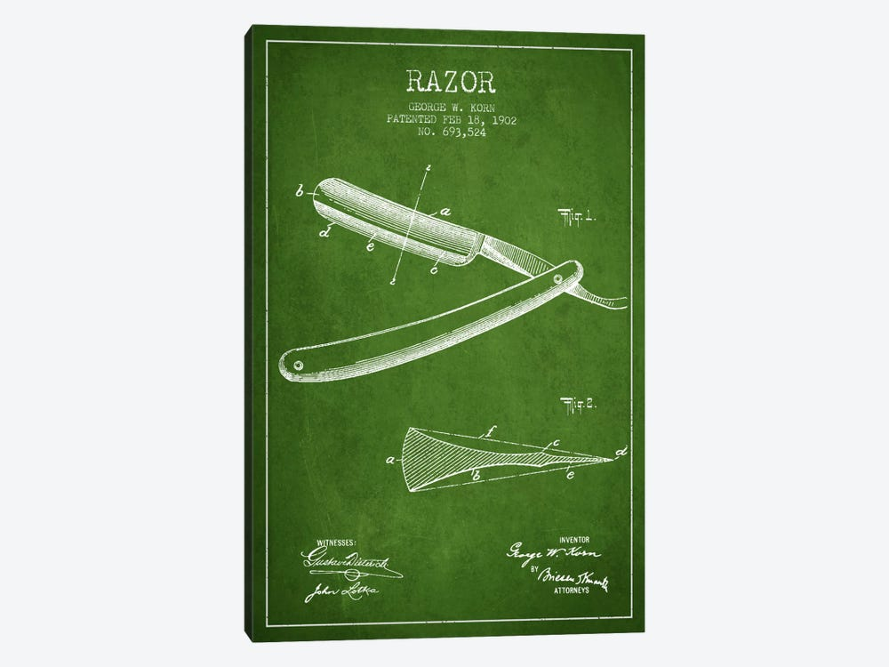 Razor Green Patent Blueprint 1-piece Canvas Artwork