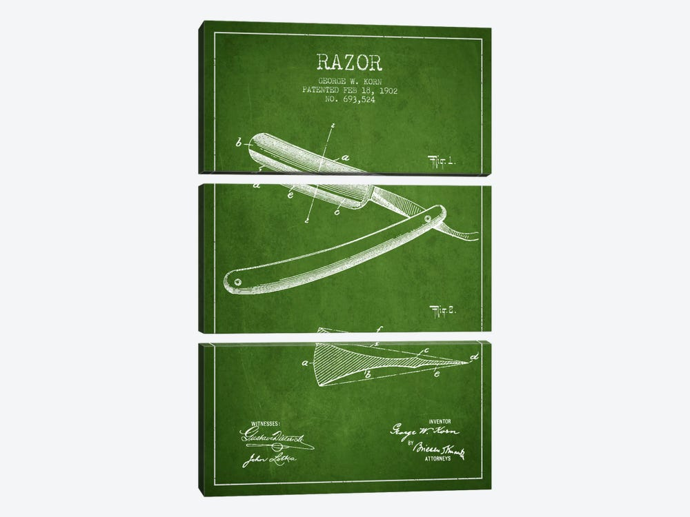 Razor Green Patent Blueprint 3-piece Canvas Art