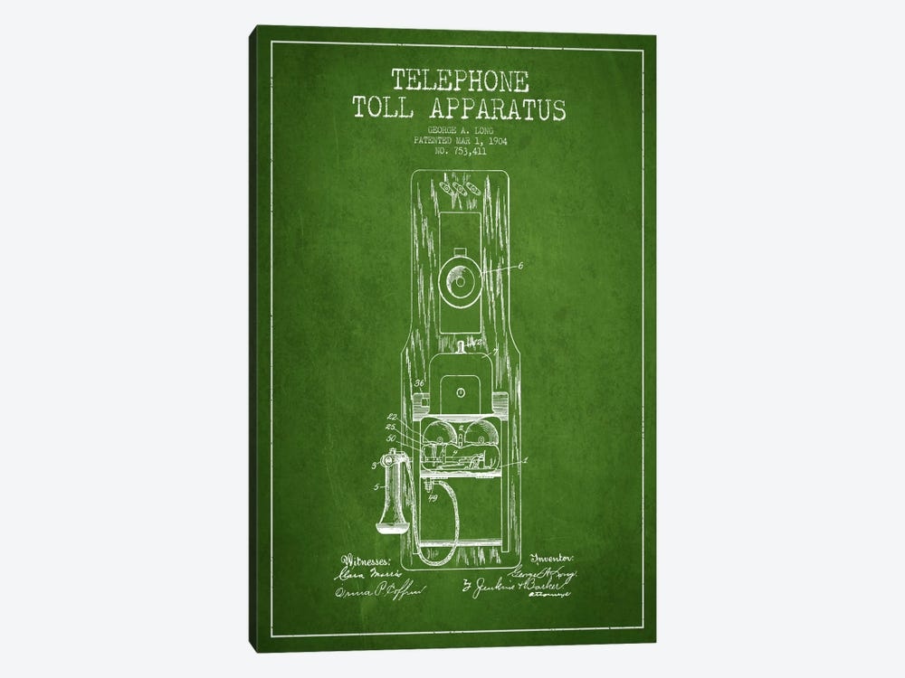 Long Telephone Toll Green Patent Blueprint by Aged Pixel 1-piece Canvas Art