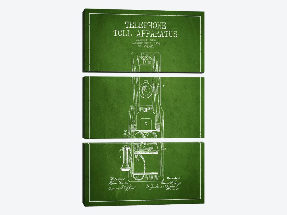 Long Telephone Toll Green Patent Blueprint by Aged Pixel 3-piece Canvas Art