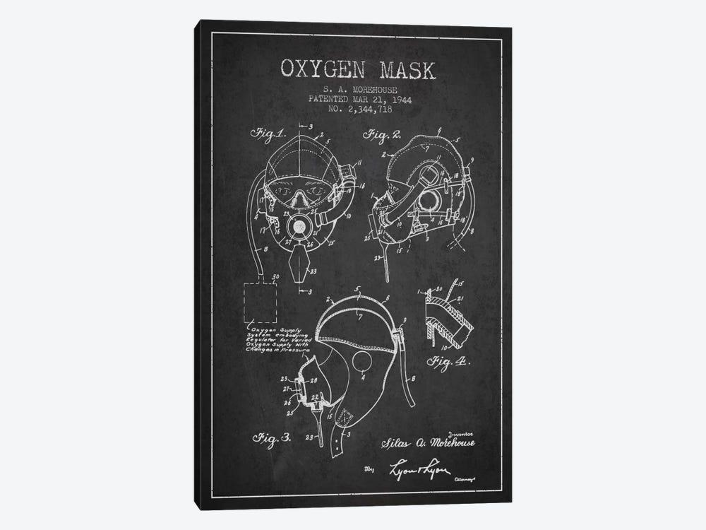 Oxygen Mask Charcoal Patent Blueprint by Aged Pixel 1-piece Canvas Art Print
