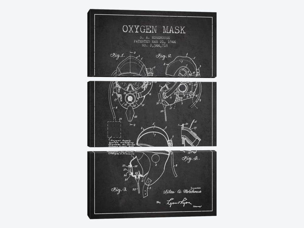 Oxygen Mask Charcoal Patent Blueprint by Aged Pixel 3-piece Canvas Art Print