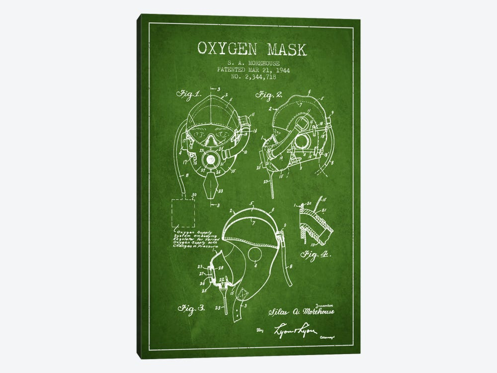 Oxygen Mask Green Patent Blueprint by Aged Pixel 1-piece Canvas Artwork