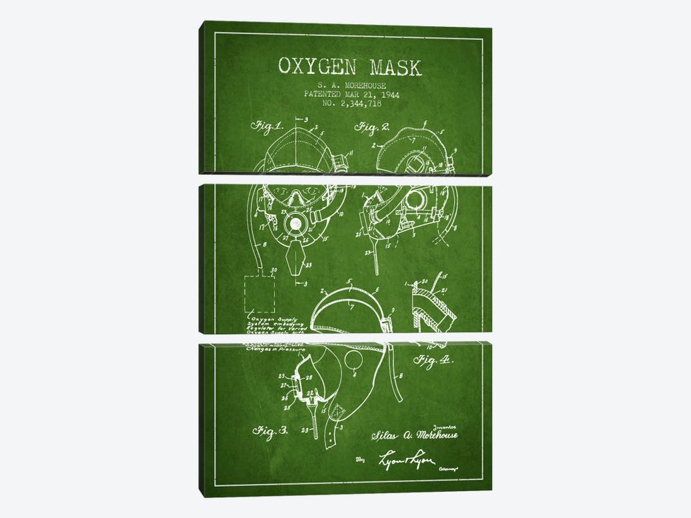 Oxygen Mask Green Patent Blueprint by Aged Pixel 3-piece Canvas Art