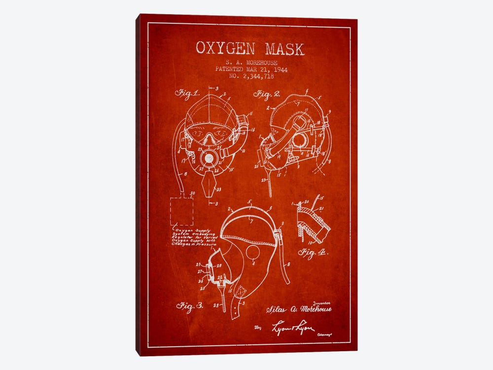 Oxygen Mask Red Patent Blueprint by Aged Pixel 1-piece Canvas Artwork