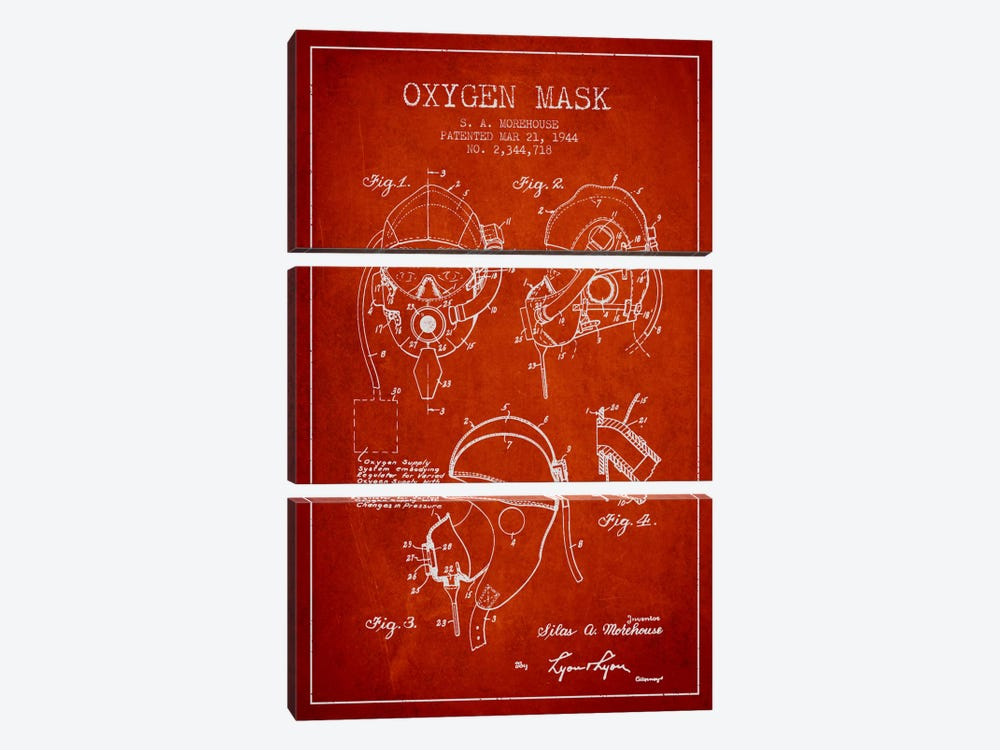 Oxygen Mask Red Patent Blueprint by Aged Pixel 3-piece Canvas Wall Art