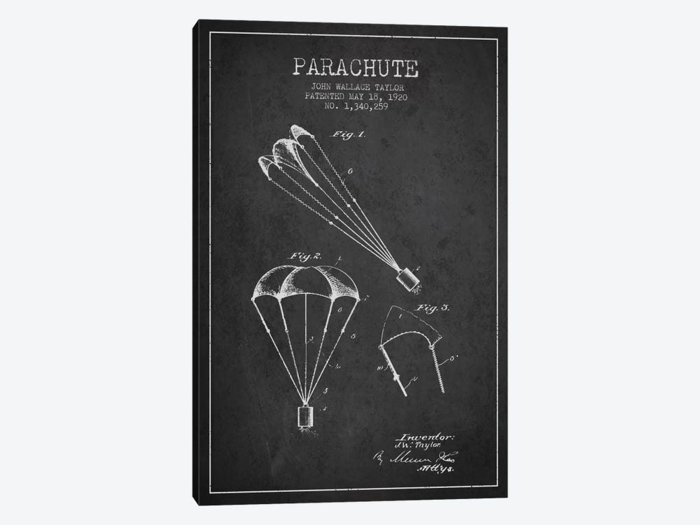 Parachute 1 Charcoal Patent Blueprint by Aged Pixel 1-piece Canvas Art