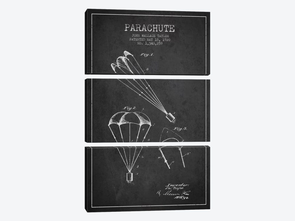 Parachute 1 Charcoal Patent Blueprint by Aged Pixel 3-piece Canvas Artwork