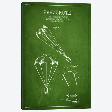 Parachute 1 Green Patent Blueprint Canvas Print #ADP2406} by Aged Pixel Canvas Art Print