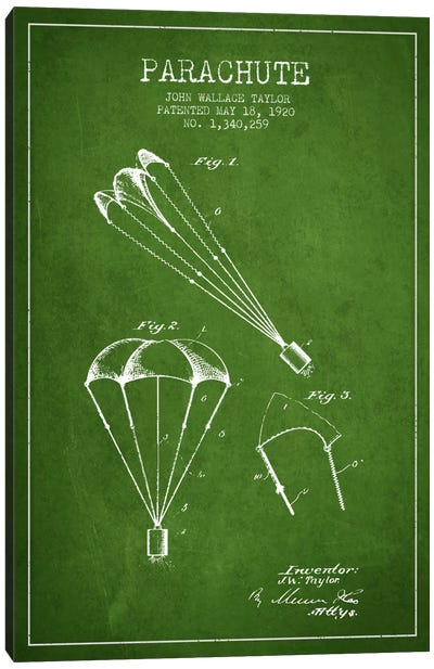 Parachute 1 Green Patent Blueprint Canvas Art Print