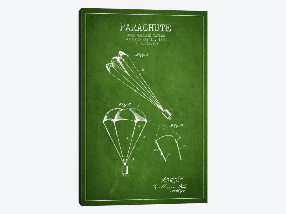 Parachute 1 Green Patent Blueprint by Aged Pixel 1-piece Art Print