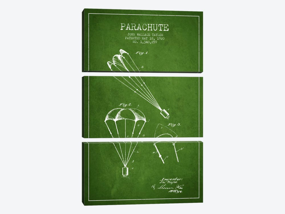 Parachute 1 Green Patent Blueprint by Aged Pixel 3-piece Canvas Art Print