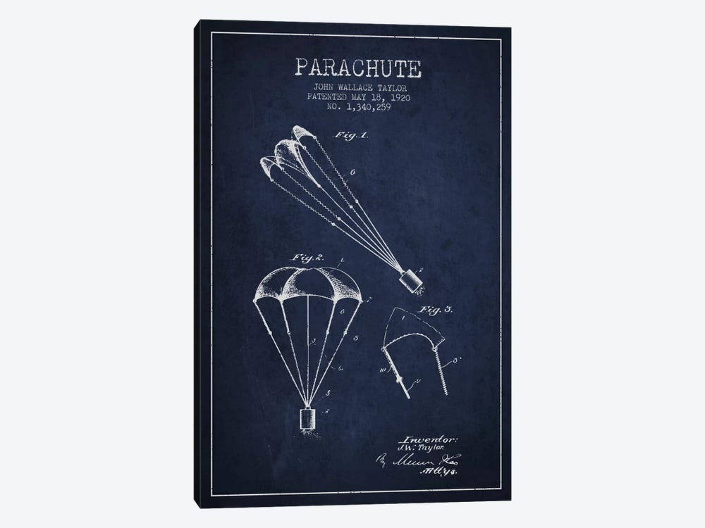 Parachute 1 Navy Blue Patent Blueprint by Aged Pixel 1-piece Canvas Art