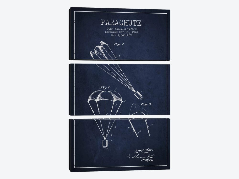 Parachute 1 Navy Blue Patent Blueprint by Aged Pixel 3-piece Canvas Wall Art