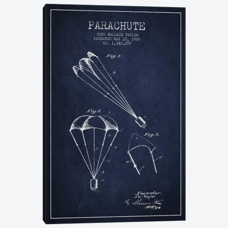 Parachute 1 Navy Blue Patent Blueprint Canvas Print #ADP2407} by Aged Pixel Art Print