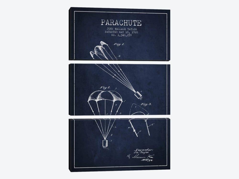 Parachute 1 Navy Blue Patent Blueprint by Aged Pixel 3-piece Canvas Wall Art