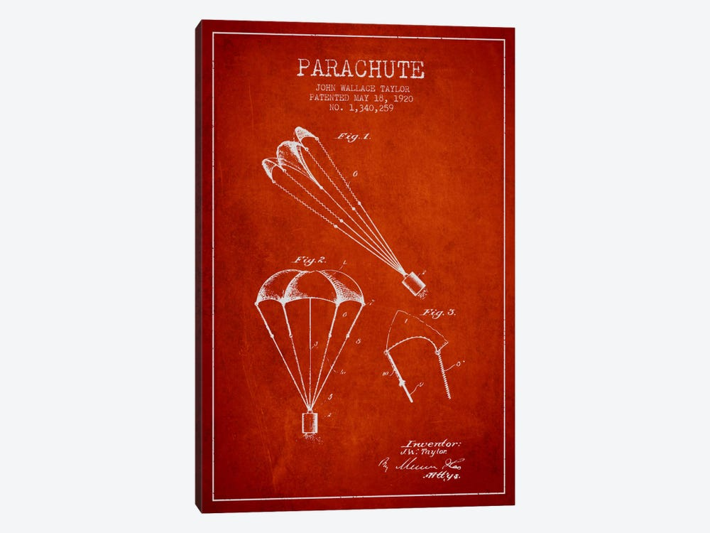 Parachute 1 Red Patent Blueprint by Aged Pixel 1-piece Art Print