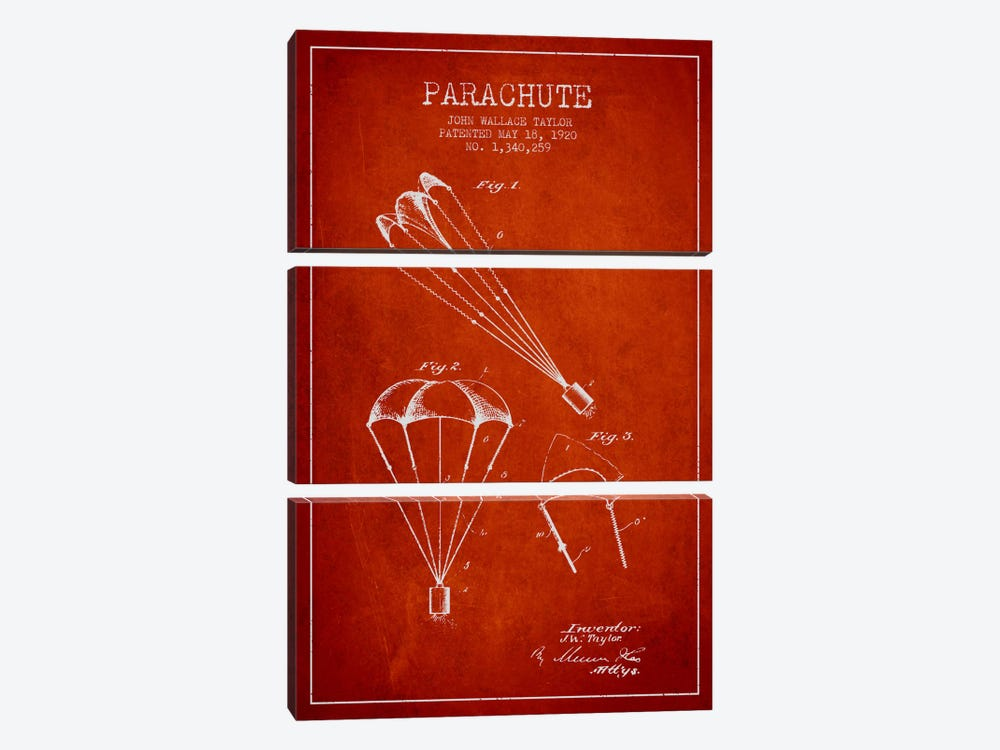 Parachute 1 Red Patent Blueprint by Aged Pixel 3-piece Canvas Print
