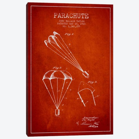 Parachute 1 Red Patent Blueprint Canvas Print #ADP2408} by Aged Pixel Canvas Art