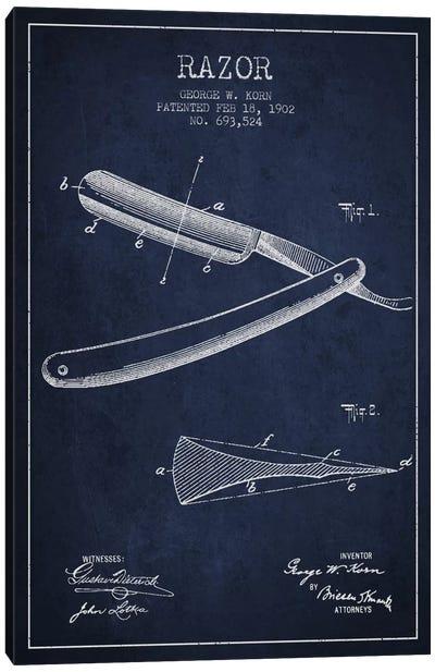 Razor Navy Blue Patent Blueprint Canvas Print #ADP240