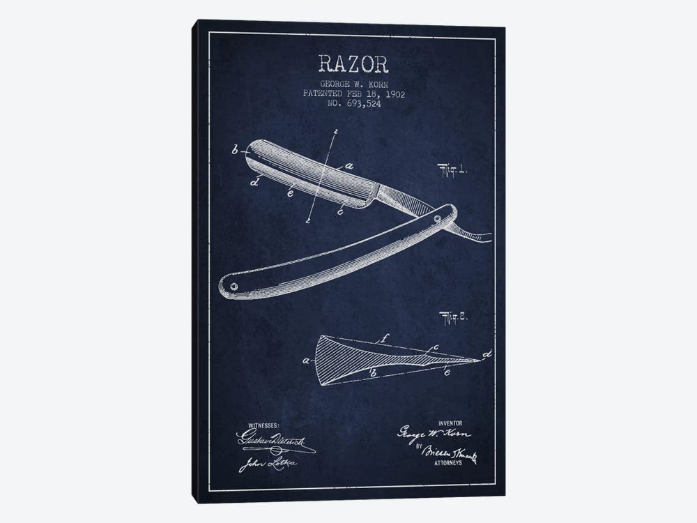 Razor Navy Blue Patent Blueprint by Aged Pixel 1-piece Canvas Wall Art