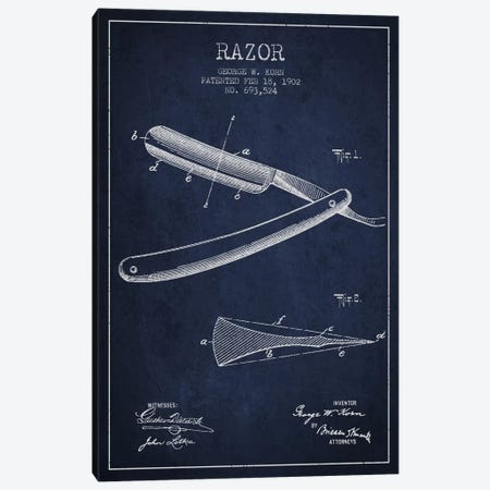 Razor Navy Blue Patent Blueprint Canvas Print #ADP240} by Aged Pixel Canvas Print