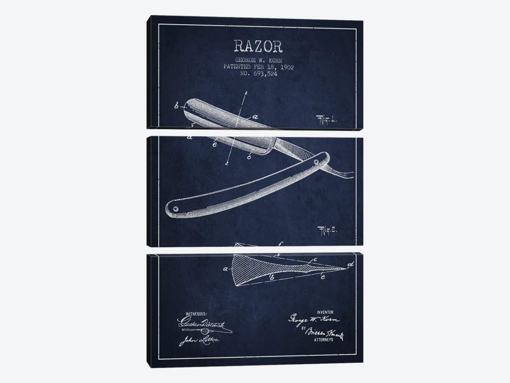 Razor Navy Blue Patent Blueprint by Aged Pixel 3-piece Canvas Art