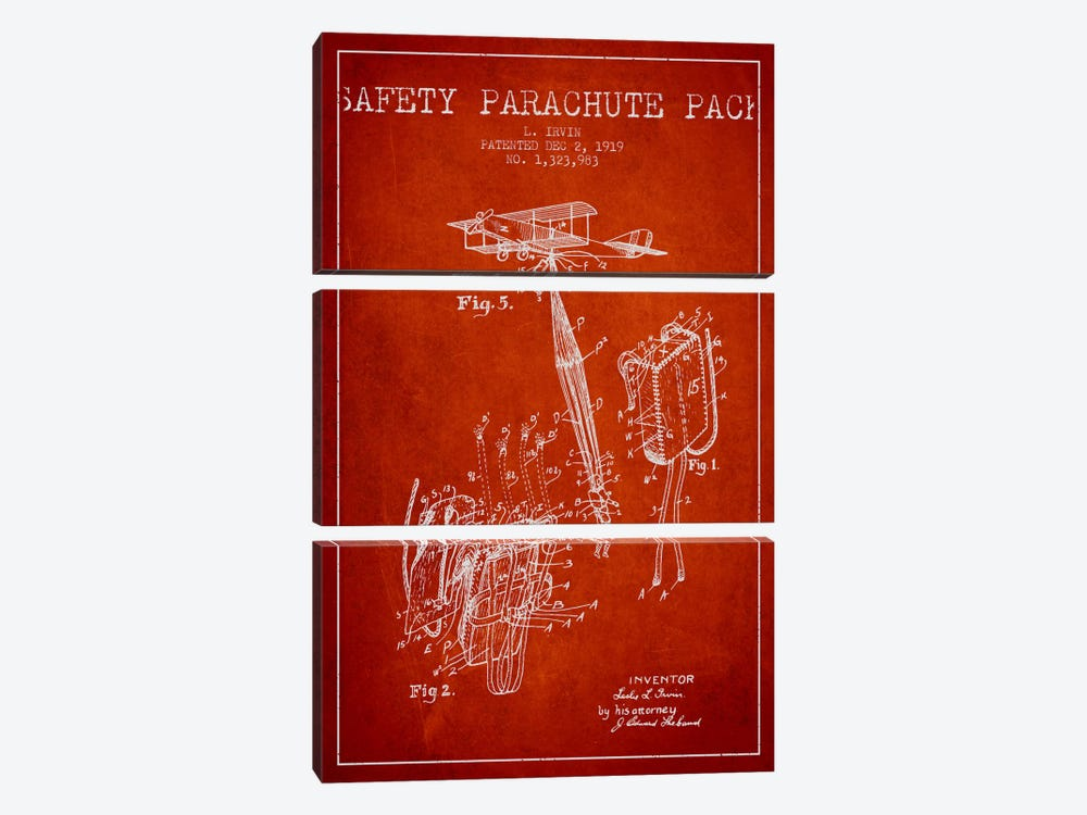 Parachute 2 Red Patent Blueprint by Aged Pixel 3-piece Canvas Print