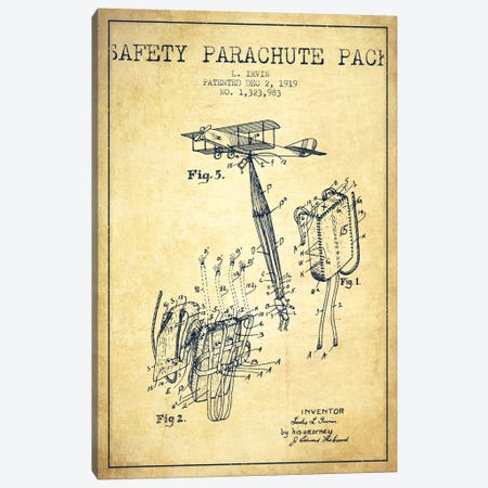 Parachute 2 Vintage Patent Blueprint Canvas Print #ADP2414} by Aged Pixel Canvas Art