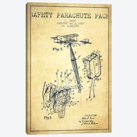 Parachute 2 Vintage Patent Blueprint Canvas Print #ADP2414} by Aged Pixel Canvas Art