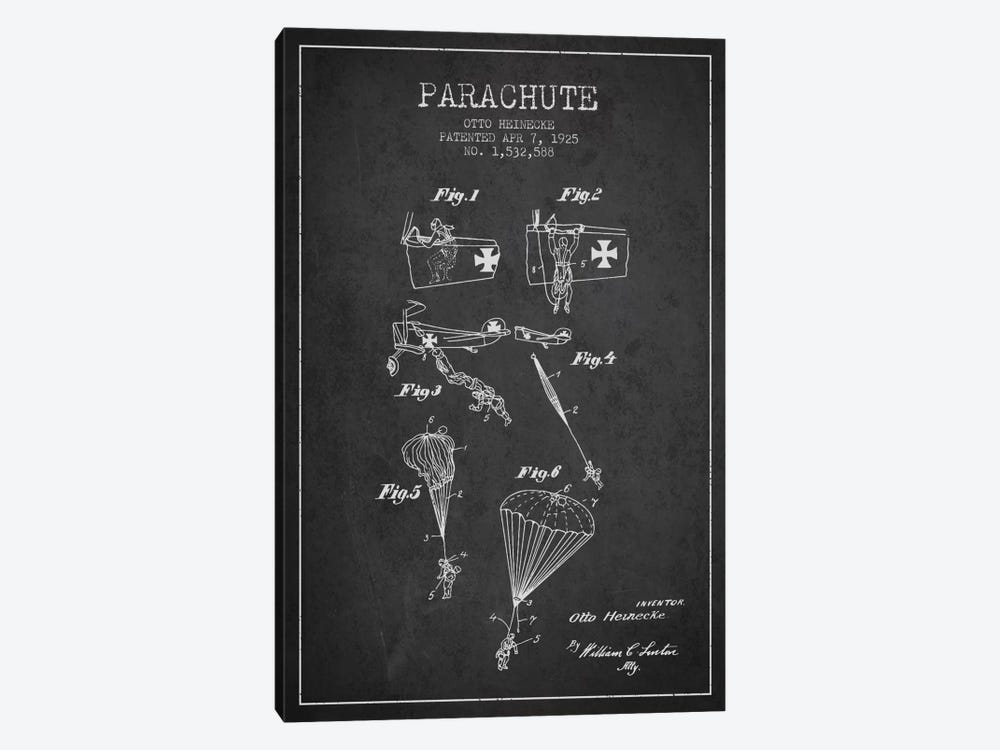 Parachute 3 Charcoal Patent Blueprint by Aged Pixel 1-piece Canvas Print
