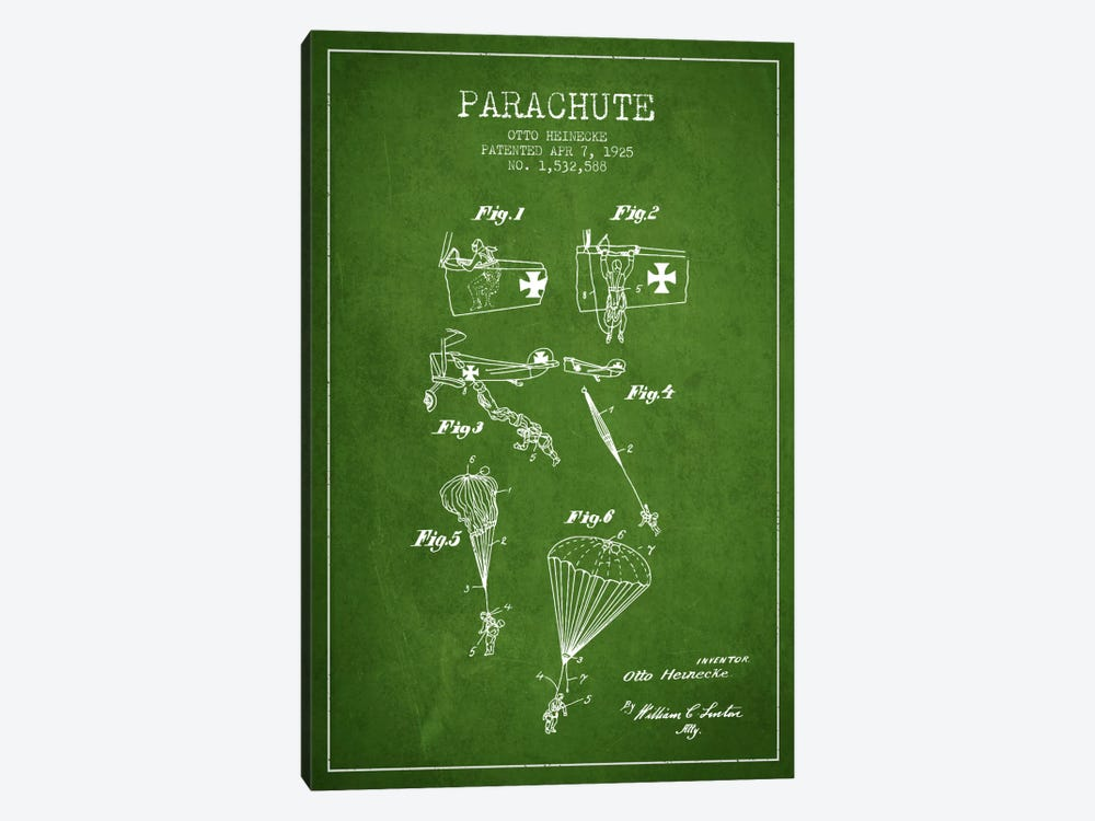 Parachute 3 Green Patent Blueprint by Aged Pixel 1-piece Canvas Artwork
