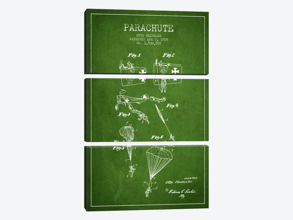 Parachute 3 Green Patent Blueprint by Aged Pixel 3-piece Canvas Art