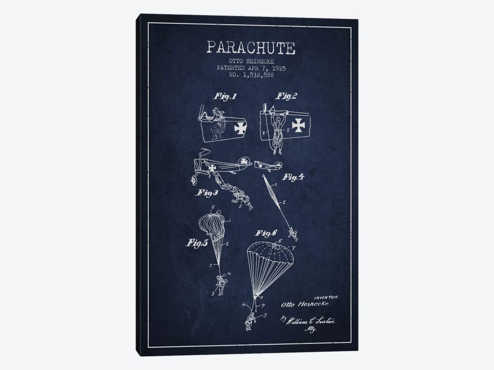 Parachute 3 Navy Blue Patent Blueprint 1-piece Canvas Print