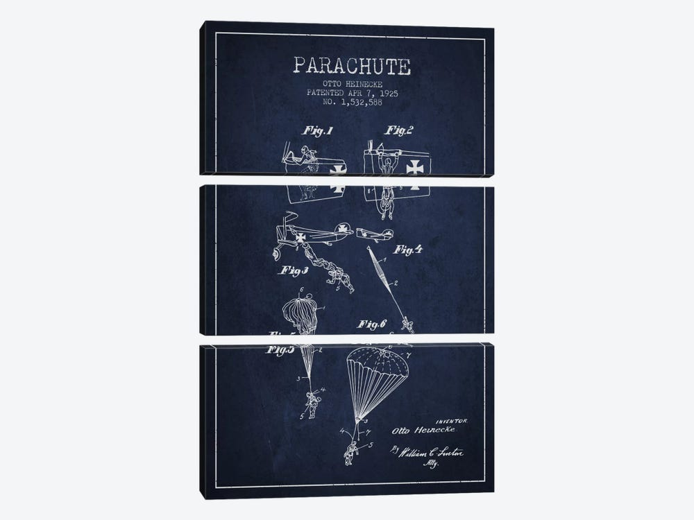 Parachute 3 Navy Blue Patent Blueprint by Aged Pixel 3-piece Canvas Print