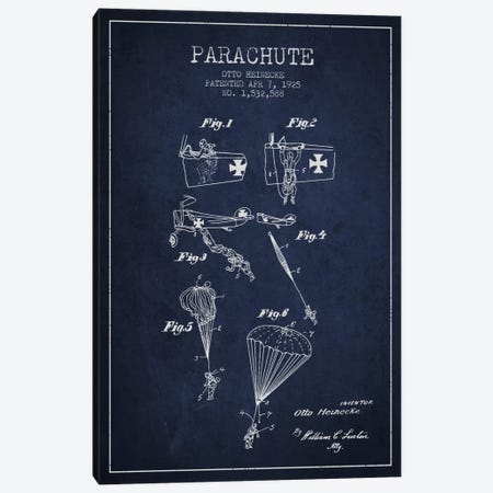 Parachute 3 Navy Blue Patent Blueprint Canvas Print #ADP2417} by Aged Pixel Canvas Artwork