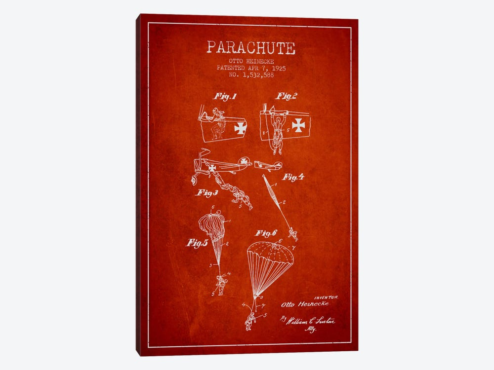 Parachute 3 Red Patent Blueprint by Aged Pixel 1-piece Canvas Wall Art