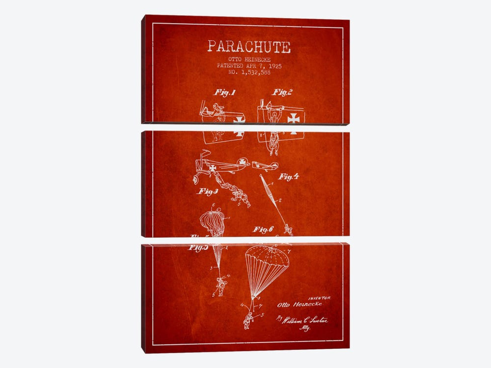 Parachute 3 Red Patent Blueprint 3-piece Canvas Art