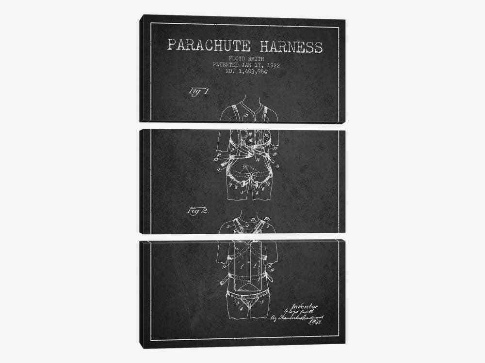 Parachute 4 Charcoal Patent Blueprint 3-piece Canvas Print