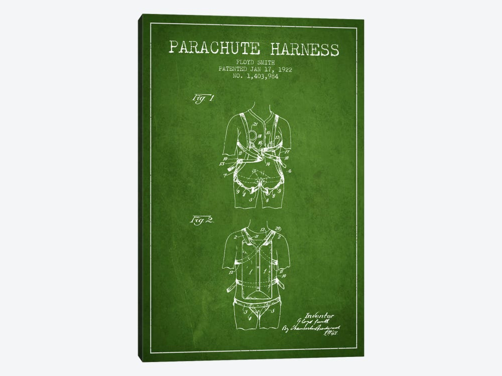 Parachute 4 Green Patent Blueprint by Aged Pixel 1-piece Canvas Artwork