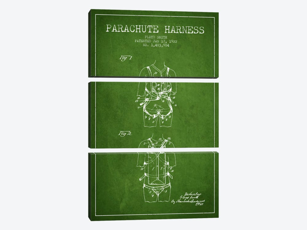Parachute 4 Green Patent Blueprint by Aged Pixel 3-piece Canvas Art