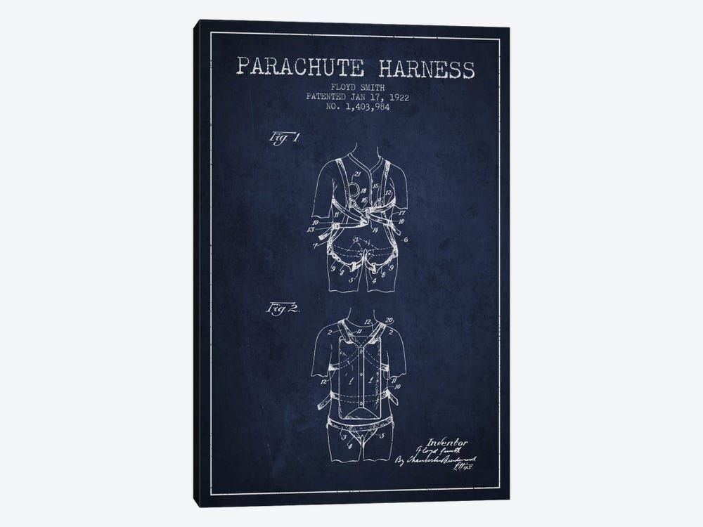 Parachute 4 Navy Blue Patent Blueprint by Aged Pixel 1-piece Art Print