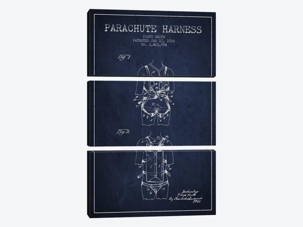 Parachute 4 Navy Blue Patent Blueprint by Aged Pixel 3-piece Canvas Art Print