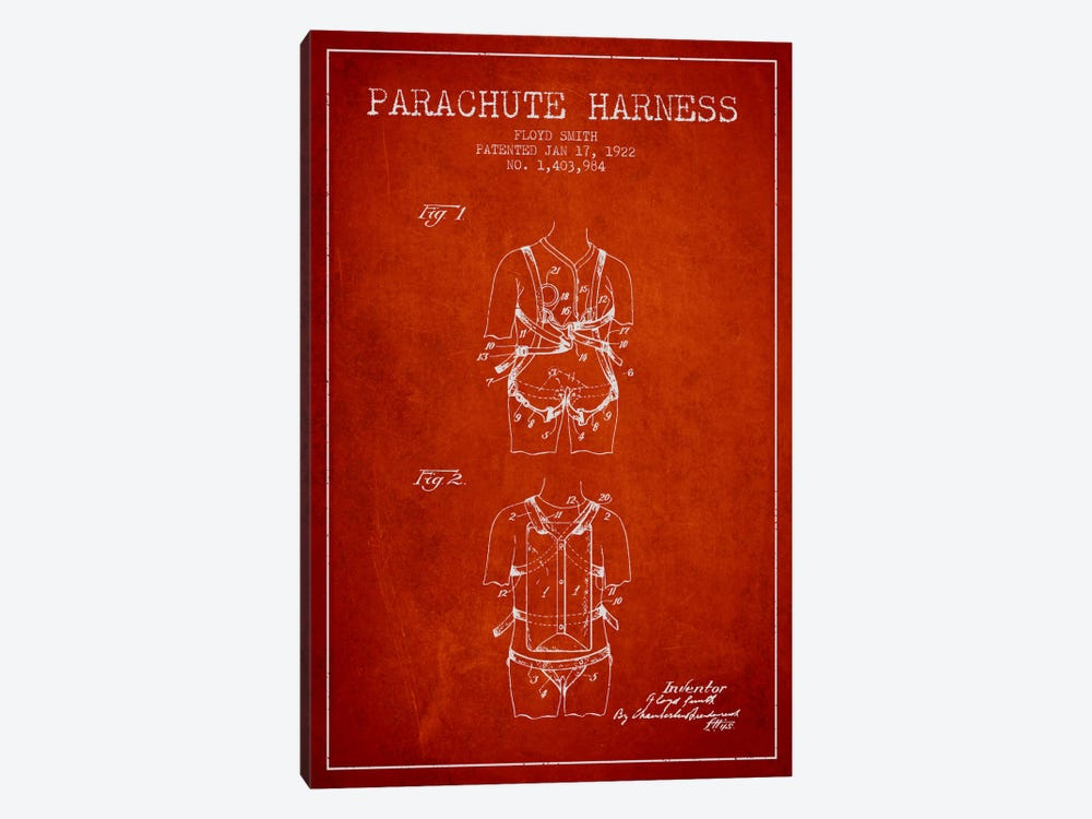 Parachute 4 Red Patent Blueprint by Aged Pixel 1-piece Canvas Wall Art