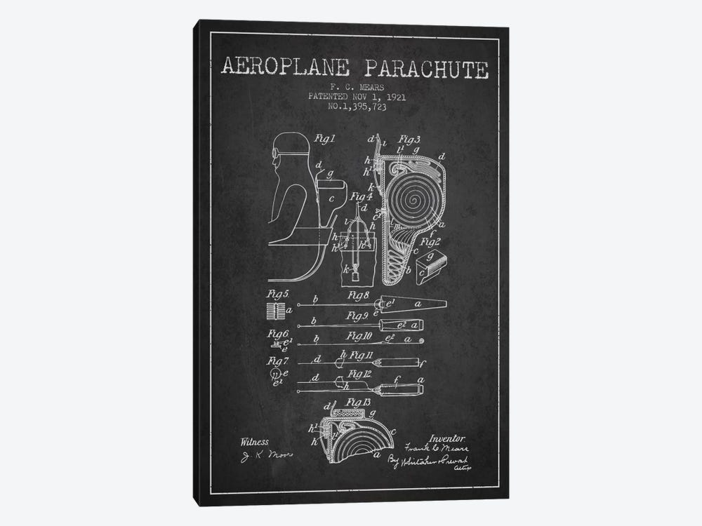 Parachute 5 Charcoal Patent Blueprint by Aged Pixel 1-piece Canvas Artwork